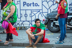Portuguese fans during video translation of the football match Portugal - France final of the European championship 2016 Royalty Free Stock Photo