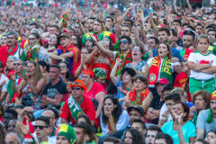 Portuguese fans during video translation of the football match Portugal - France final of the European championship 2016 Royalty Free Stock Images