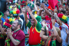 Portuguese fans during video translation of the football match Portugal - France final of the European championship 2016 Stock Photography