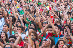Portuguese fans during video translation of the football match Portugal - France final of the European championship 2016 Royalty Free Stock Photography