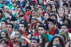 Portuguese fans during video translation of the football match Portugal - France final of the European championship 2016 Stock Image