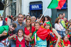 Portuguese fans during video translation of the football match Portugal - France final of the European championship 2016 Royalty Free Stock Photos