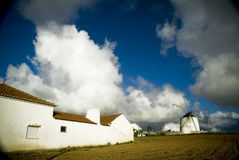 Portuguese Farm. A Portuguese farm with a typical windmill close to Peniche, Portugal Stock Photos