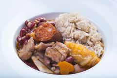 Portuguese feijoada. Traditional Portuguese feijoada served on a plate for a healthy eating stock photos