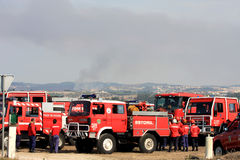 Portuguese firefighters on standby during fires Royalty Free Stock Image