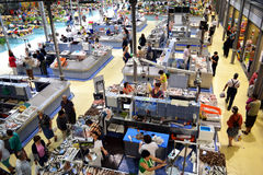 Portuguese fish wet market marketplace. General view of a retail fish marketplace. This fish market is the renewed marketplace on Figueira da Foz, Portugal. In stock image