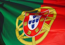 Portuguese Flag. Close-up of the Portuguese Flag waving in the wind Royalty Free Stock Photo