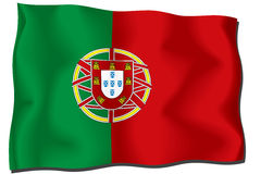 Portuguese Flag. With ripples illustration Stock Illustration