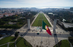 Portuguese Flag on Edward vii Park in Lisbon, Portugal Royalty Free Stock Photos