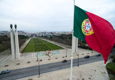 Portuguese Flag on Edward vii Park in Lisbon, Portugal Royalty Free Stock Images
