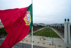 Portuguese Flag on Edward vii Park in Lisbon, Portugal Stock Photos
