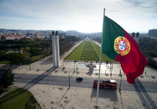 Portuguese Flag on Edward vii Park in Lisbon, Portugal Royalty Free Stock Image