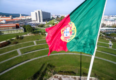 Portuguese Flag on Edward vii Park in Lisbon, Portugal Stock Photography