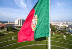 Portuguese Flag on Edward vii Park in Lisbon, Portugal Royalty Free Stock Photography
