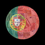 Portuguese flag on euros Stock Images