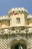 A Portuguese flag flies over Da Pena Royal Palace, Pal�cio da Pena, or Castelo da Pena as it is more commonly known, the most co Stock Photography