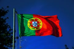 Portuguese flag fluttering in the blue sky. Close-up of Portuguese flag at sunset fluttering in the wind with blue sky in the background near Elvas. A gracious royalty free stock photo