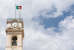 The Portuguese flag is flying above the Tower of the University Royalty Free Stock Image