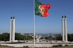 Portuguese flag flying Stock Photo