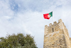 Portuguese flag on fortress Royalty Free Stock Images
