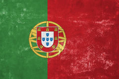 Portuguese Flag. Portugal - Portuguese Flag on Old Grunge Texture Background royalty free stock image