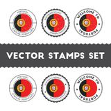 Portuguese flag rubber stamps set. Royalty Free Stock Images