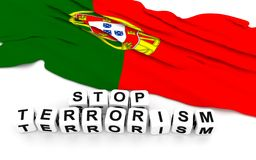 Portuguese flag and text stop terrorism. Stock Images