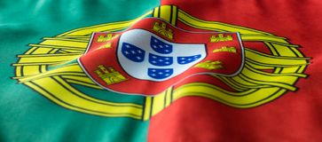 Portuguese flag waving as seen from a front view royalty free stock photos