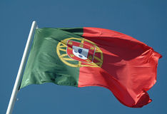 Portuguese flag waving to the wind Royalty Free Stock Image