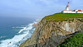 The Portuguese flagship lighthouse at Cabo de roca. Cabo da Roca portugal is a rugged and wild promontory that marks the westernmost point of the European royalty free stock images