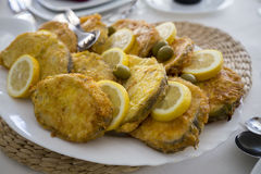 Portuguese food, fried fish. stock photos