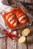 Portuguese food: spicy chicken piri piri close up in baking dish Stock Image