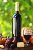 Portuguese food and  wine. Portuguese food and red wine Royalty Free Stock Photography