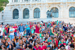 Portuguese football fans watching Euro 2016 Final. UEFA Euro 2016 Final between France and Portugal with thousands of Portuguese fans watching the match on a big royalty free stock photos