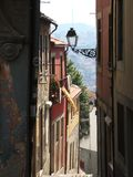 Portuguese foreshortening. Colorful foreshortening of a portuguese alley in Porto Stock Images
