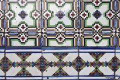 Portuguese glazed tiles. Portuguese glazed color tiles, closeup stock photo