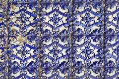 Portuguese glazed tiles. Portuguese blue and white glazed tiles, closeup stock photography