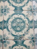 Portuguese green flowery tiles Royalty Free Stock Image