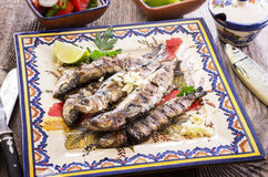 Portuguese Grilled Sardines Stock Images