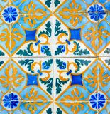 Portuguese Retro Geometrical Pattern Glazed Tiles, Handmade Azulejos, Portugal Street Art, Abstract Background Stock Photography