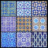 Portuguese Tiles Retro Patchwork, Geometrical Pattern Collage, Glazed Handmade Azulejos, Portugal Street Art, Abstract Background Royalty Free Stock Images