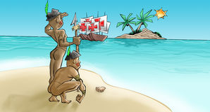 Portuguese have arrived. The portugueses have arrived in theyer caravels stock illustration