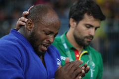 Portuguese Judoka Jorge Fonseca in blue with coach after loss against Lukas Krpalek of Czech Republic men -100 kg match Stock Image