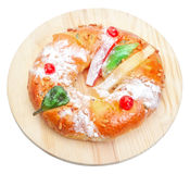 Portuguese king cake on a wooden stand. Stock Images
