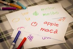 Portuguese; Learning New Language with Fruits Name Flash Cards.  Royalty Free Stock Photo