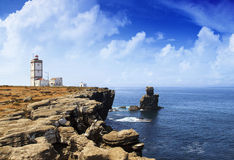 Portuguese lighthouse. Over blue ocean Royalty Free Stock Image