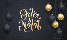 Portuguese Merry Christmas Feliz Natal decoration golden ball ornament greeting Stock Image