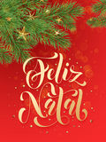 Portuguese Merry Christmas Feliz Natal greeting card decoration red background royalty free illustration