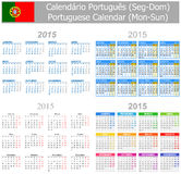 2015 Portuguese Mix Calendar Mon-Sun. On white background Royalty Free Illustration