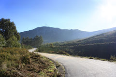 Portuguese mountain path. Mountain road above minho delta Royalty Free Stock Images